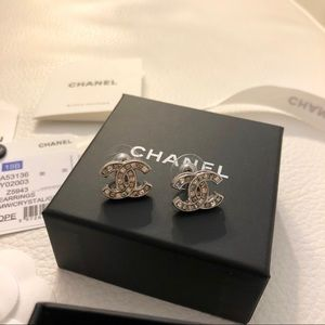 Authentic Chanel CC Silver big stone stud earrings